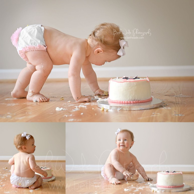 first birthday cake smash 1 year old baby girl - charlotte baby photographer