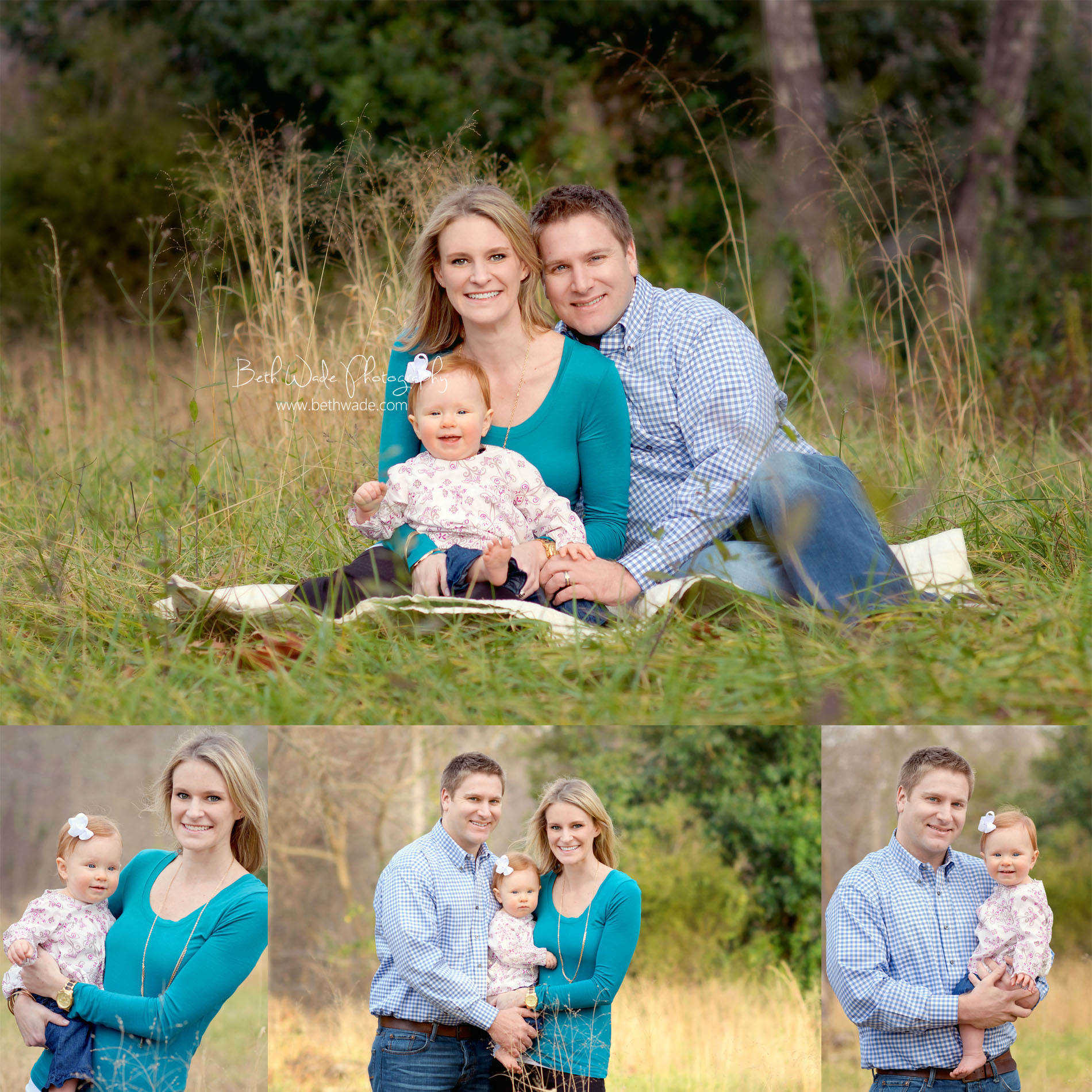 Family of 3 with 1 year old baby girl charlotte baby photographer