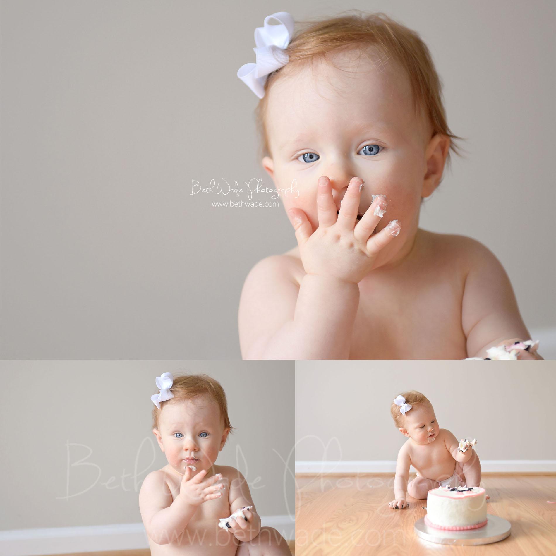 first birthday cake smash 1 year old baby girl - charlotte baby photographer