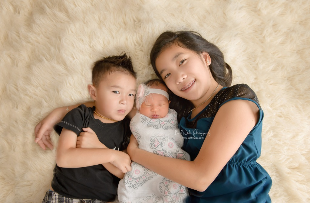 7 days old baby girl ~ family of 5 {charlotte newborn photographer}