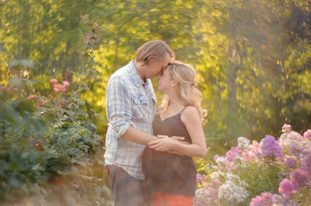 expecting a girl! sweet couple at the gardens {charlotte nc maternity photography}