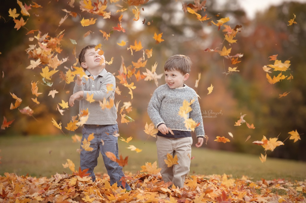 my wade boys ~ fallen leaves {lake wylie child photographer}