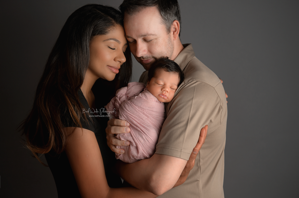 happy 11 day old baby girl ~ family of 3 {huntersville newborn photographer}