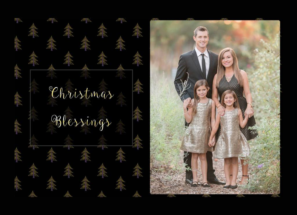 black and gold holiday card designs by beth wade photography